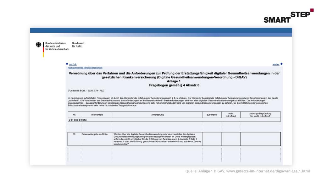 Darstellung des Fragebogens zur Prüfung der Erstattungsfähigkeit digitaler Gesundheitsanwendungen lt. DiGAV.